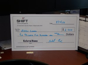 SHIFTers Receive Mega Referral Bonus Check for New Hire